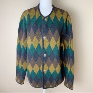 Vintage • Chevron Wool Cardigan Sweater